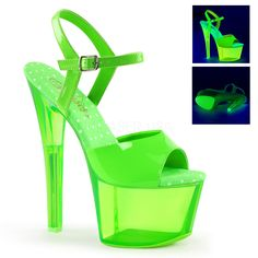 Pleaser SKY-309UVT Neon Green Ankle Strap Sandals With Green Tinted Platform