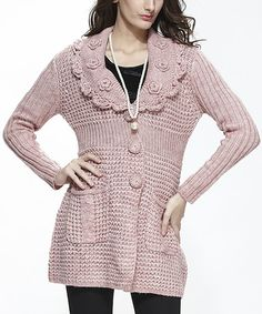 Simply Couture Pink Wool-Blend Button-Up Cardigan by Simply Couture #zulily #zulilyfinds