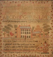 A William IV alphabetical and numerical needlework sampler by Mary Dixon, 'Aged 11, Oct 21st A.D. 1836', the letters and numbers above a Georgian country house and church within a landscape, the verse flanked by flowers, contained within a floral border, worked with coloured wools in mainly cross stitch on a cream canvas ground