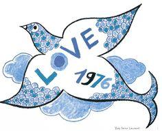 Poster love colombes par YSL - 1976