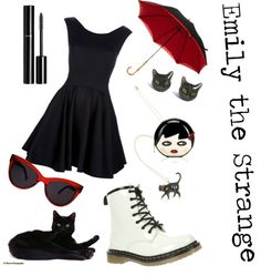 """Emily the Strange"" by dudethisnameistaken on Polyvore"