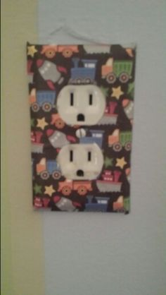 84c89e691f55 I modgepodged scrapbook paper to customize my little boy s outlets! AF