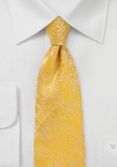 Krawatte goldgelb Rankenmuster