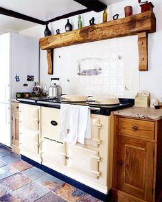 Large Aga range cooker in Yorkshire farmhouse kitchen Aga Kitchen, Kitchen Buffet, Kitchen Chairs, Kitchen Dining, Kitchen Decor, Rustic Kitchen, Stairs Kitchen, Kitchen Nook, Kitchen Shelves