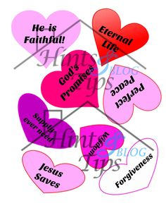 Christian and Plain Valentine's Day Hearts God's Promises Solid and Outline and Pattern by HintsandTips on Etsy