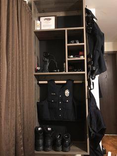 My husband's police duty gear rack he made Police Gear Stand, Police Duty Gear, Police Officer, Cop Wife, Police Wife Life, Po Patrol, Warrior Rack, Law Enforcement Gear, Gear Rack