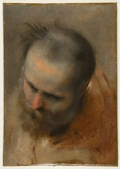 Federico Barocci - Head of a Bearded Man Looking to Lower Left - 1579-82.