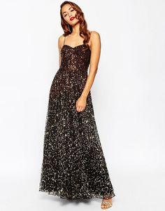 ASOS RED CARPET Scattered Gold Ombre Embellished Maxi Evening Dress UK 10 -EU 38