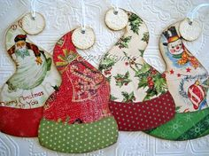 Christmas Stocking Cap Tags jingle bells Santa snowman holly red green traditional...By:CatnipStudioToo