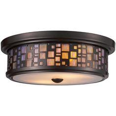 Elk Lighting Modern Flushmount Light with White Glass in Oiled Bronze Finish 70027-2