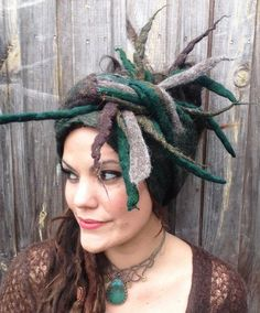 CUSTOM made for Lyle - The 'Grizzle' Earthy Dread Wrap of Felted Dreads and Sparkles