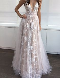V-Neck Lace Charming Sexy Handmade Prom Dress,Long Prom Dresses,Prom