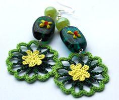 Crochet earring jewelry  Large crochet earring  by lindapaula, €10.00