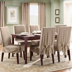 Sewing Ideas for Dining Room Chair Covers - http://www.cindykaymusic.com/sewing-ideas-for-dining-room-chair-covers/ : #RoomDecor Dining room chair covers with Cottage and Casual Dining Rooms, Wheelchair dining room with rural charm, consider relaxed, two-piece case. Make solid, checked, striped or floral cotton. Sew the top piece as a short pillowcase hanging from a third to half of the back of the chair. Sew a flyer...
