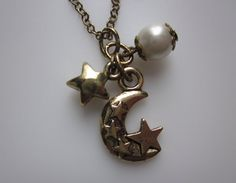 Goodnight Moon and Stars Necklace, Lunar Charm, Celestial Pendant, Cosmic Jewelry by luckysparks on Etsy