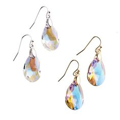 """Glistening Teardrop Earrings   Faceted iridescent glass crystals reflect light to create a dazzling burst of sparkle! MATERIALS • Shiny silvertone plating • Imitation shiny goldtone plating • Silicone • Brass • Glass MEASURMENTS 17mm x 28mm 1 1/2"""" long (measured) ~ Avon Lady Beth Bailey ~ Avon eStore LipstickShoesAndMore.com"""