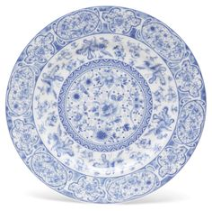 "11"" Floral Plate, Blue/White 