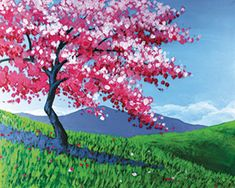 Celebrate the arrival of Spring with a bloomed-out cherry tree in a meadow. The shades of pink of the blooms pop nicely against the blue-sky background. #spring #cherryblossoms #socialartworking