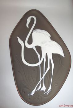 Knabstrup-Denmark-Piotr-Baro-Relief-Wall-Plaque-Flamingos-1950s-Scandinavian