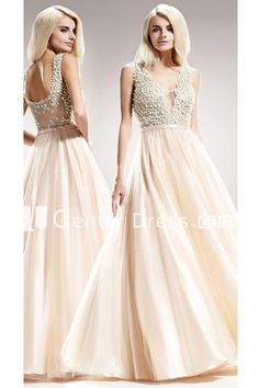 3b7596944be A-Line Floor-Length V-Neck Sleeveless Satin Low-V Back Dress With Beading