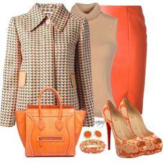 """""""Orange & Tweed"""" by nansg on Polyvore"""