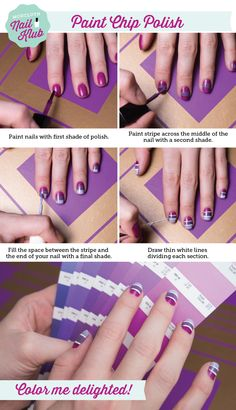 radiant orchid paint-chip nail art