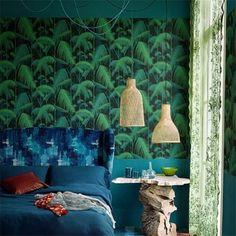 Papier peint tropical Palm Jungle noir et vert de Cole & Son