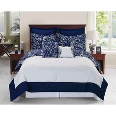 Navy Blue White Paisley Floral Theme Comforter Queen Set Scroll Motif Flower Bedding Elegant Boho Chic Bohemian Scrollwork Themed Pattern Solid Border