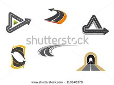 Set of road and highway icons and symbols for transportation design, such a logo idea. Jpeg version also available in gallery - stock vector