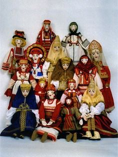 """""""Russian Collection"""" by Alexandra Koukinova. Soft dolls with embroidered faces dressed in traditional costumes of various Russian provinces."""