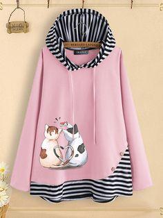 Button Stripe Patchwork Cartoon Cat Print Hoodie For Women can show the feminine elegance well, get best women Hoodies & Sweatshirts online. Hoodie Sweatshirts, Zip Up Hoodies, Printed Hoodies, Sweater Outfits, Clothes, Women, Fashion Hoodies, Print Button, Shirt Blouses
