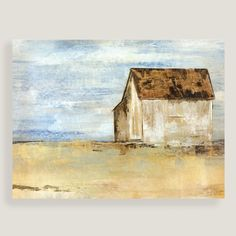 Painted in neutral colors that complement any decor, our simple, striking landscape depicts a lonely barn in a gold-tinged field.
