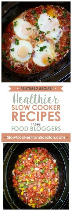Easy Slow Cooker Shakshuka from Fit Slow Cooker Queen is a fun idea for a delicious breakfast that's low-carb, Keto, low-glycemic, gluten-free, Paleo, Whole 30, and South Beach Diet friendly. [featured on SlowCookerFromScratch.com]