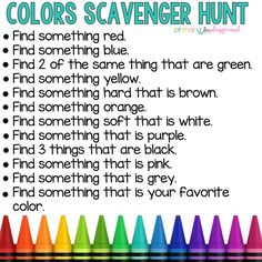 Colors Scavenger Hunt games for toddlers Preschool Learning Activities, Preschool At Home, Indoor Activities For Kids, Home Learning, Toddler Activities, Color Activities For Preschoolers, Preschool Prep, Rhyming Activities, Learning Games