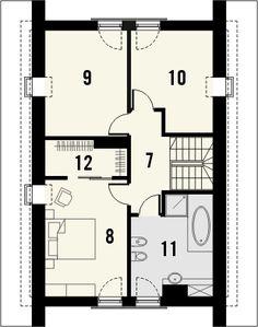 Projekt domu Decorum - rzut poddasza House Plans, Floor Plans, How To Plan, Lofts, Loft Room, Loft, House Floor Plans, Attic, Floor Plan Drawing