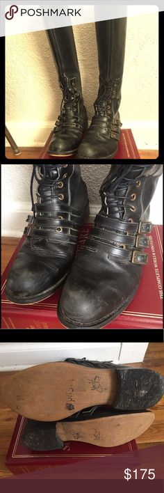 """John Fluevog Adrian Nanette  Riding Boot Leather You need these John Fluevog riding boots in your collection if you love Vogs!!! These are in good pre-worn condition, not perfect.  See photos for scuffing and light scratching all over boot. On a side note, I would suggest these for a taller girl. I am 5'8""""  and they hit the back of my leg where the knee bends  when I walk or sit, and  I find that rather uncomfortable!   I wore them a handful of times. John Fluevog Shoes Lace Up Boots"""
