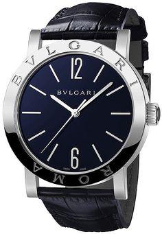 BVLGARI ROMA Blue Dial Leather Strap Men's Watch – Goldia.com