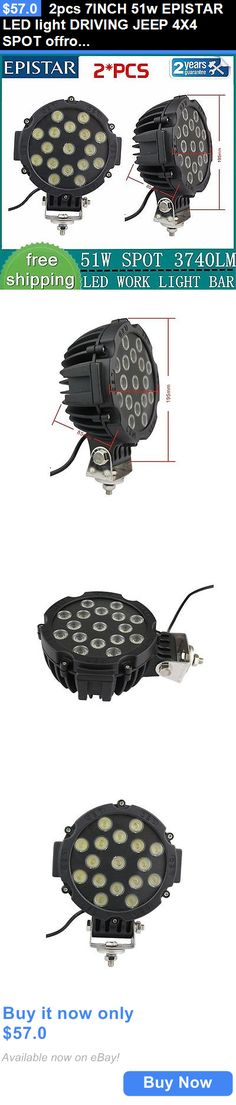 Motors Parts And Accessories: 2Pcs 7Inch 51W Epistar Led Light Driving Jeep 4X4 Spot Offroad Truck Round Black BUY IT NOW ONLY: $57.0