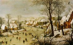 Pieter Bruegel  Winter Landscape with a Bird Trap   1565 (230 Kb); Oil, 38 x 56 cm; Wiltshire, Wilton House