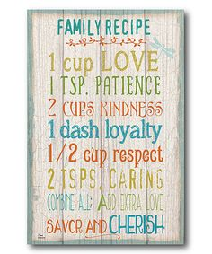 'Family Recipe' Wrapped Canvas by Courtside Market #zulily #zulilyfinds