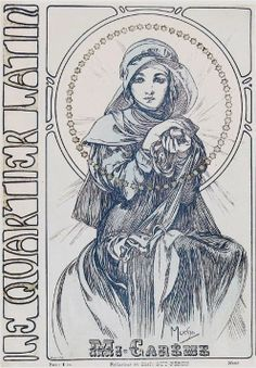 Alphonse mucha 1901+Cover+of+Au+Quartier+Latin+lithography.jpg (495×713)