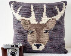 Crochet Pillow Cover Pattern Cushion PDF Stag Woodland Decor Countryside Wildlife Animals Deer Modern Decor