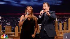 "Jimmy Fallon & Queen Latifah Beatbox ""Bust a Move"" Using iPad App"