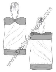 004- flat sketch tieback halter bandeau top - Free download in Adobe Illustrator or bitmap format