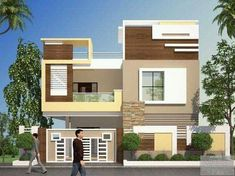 Explore the best new residential interior designs and Building floor plans as per Vasthu Sastra guidelines. 2 Storey House Design, Duplex House Design, House Front Design, Modern House Design, Building Elevation, House Elevation, Pop Design, Indian House Plans, Independent House