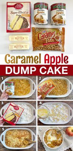 The Best Caramel Apple Cobbler Dump Cake (Just 4 Ingredients!) Caramel Apple Dump Cake, Apple Dump Cakes, Dump Cake Recipes, Dessert Cake Recipes, Caramel Apples, Caramel Bits, Sweets Recipe, Frosting Recipes, Dessert Ideas
