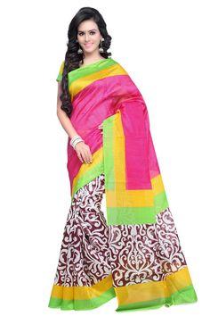 Pink Bhagalpuri Silk Printed Saree