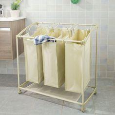 20GBP SoBuy® Laundry Basket on Wheels with 3 Removable Sections, Laundry Trolley, Laundry Bags with Handles, FSS46: Amazon.co.uk: Kitchen & Home