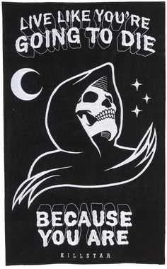 "KILLSTAR CERTAIN DEATH BACK PATCH - Live like you are going to die! This reaper patch is large and perfect to sew on the back of your favorite denim jacket. The black felt has been embroidered with a reaper and words to live by ""Live like you are going to die"" and ""Because you are"" So don't waste a waking minute of your life not owning this patch…"