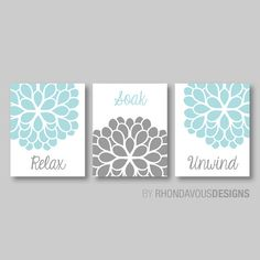 Modern Floral Relax Soak Unwind Print Trio - Bathroom Home Decor Wall - Shown in: Aqua Blue and Gray - You Pick the Size & Colors (NS-254)